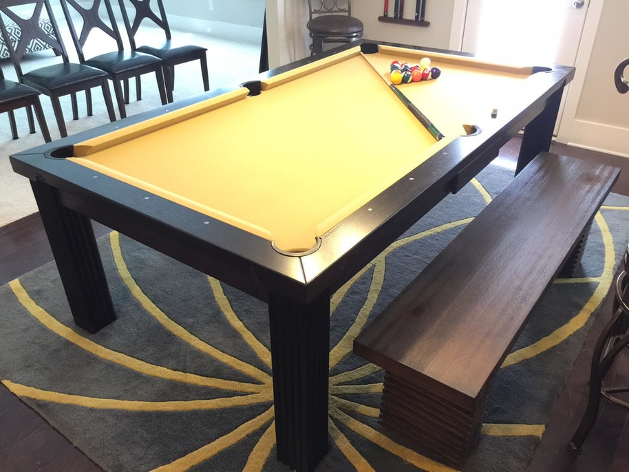 3in1 Oak Finished Wood Poker Pool Game Dining Table