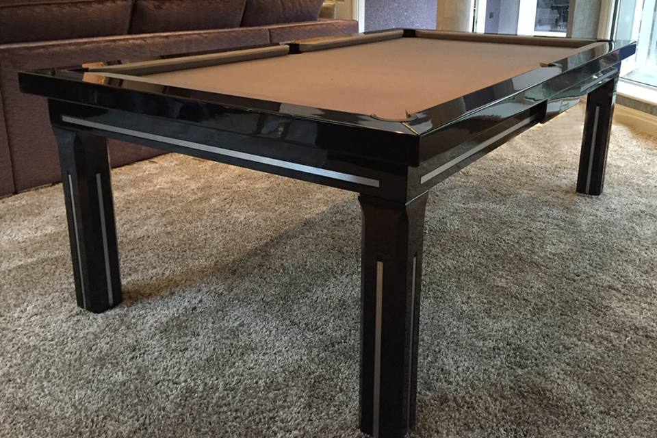Glossy Dining Pool Table in Black Paint.