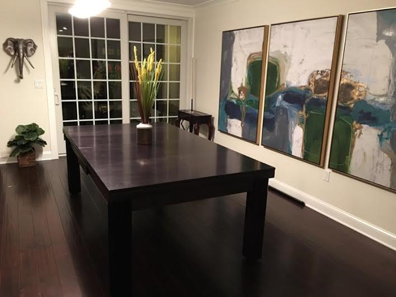 Dining Pool Table with Wood Top