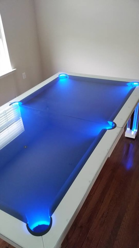 Neon Blue Dining Pool Table