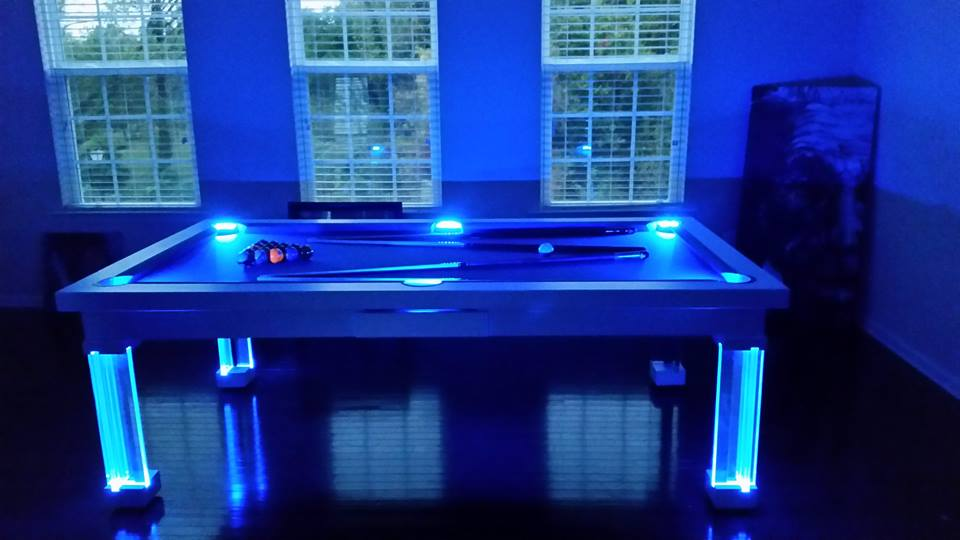 Neon Blue Glass Dining Pool Table