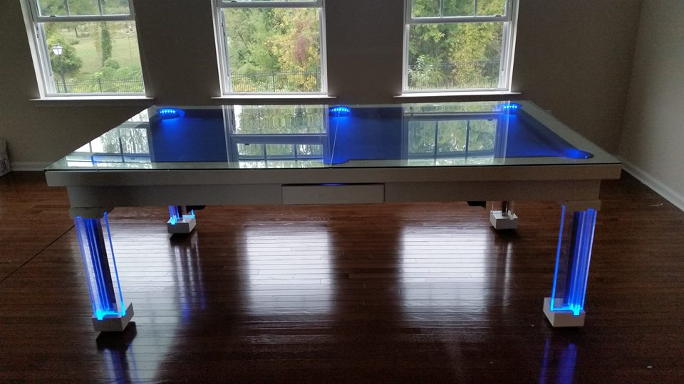 Dining Pool Table - Glass and Neon Blue