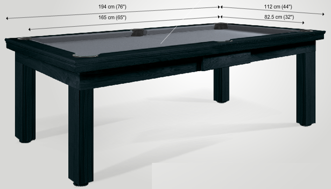 dining room pool tables sizes