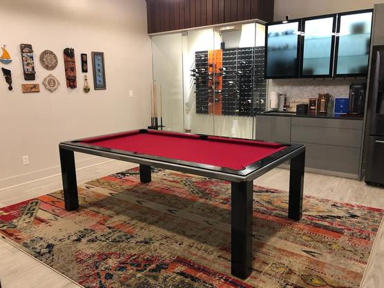 Black Red Dining Room Pool Table