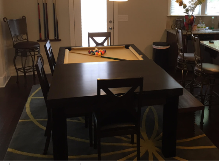Dining Room Convertible Pool Tables with bench and chairs