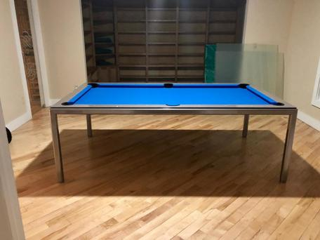 Grey Dining Room Pool Table