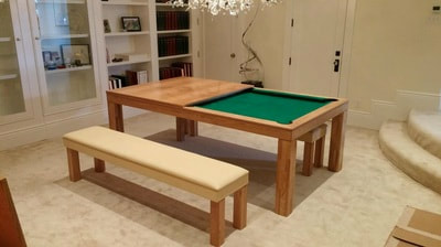 Stunning Convertible Pool Table with dining top and bench seating, converts in seconds.
